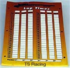 Lap time sheets