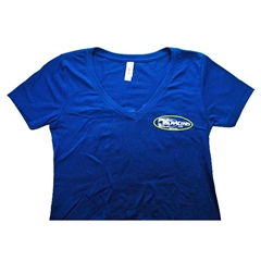 Ladies V-Neck Short Sleeve Shirt  - Royal Blue
