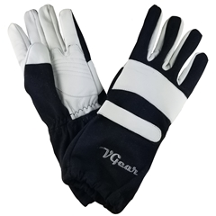 VGear Gauntlet Kart Racing Gloves - Adult Black/White
